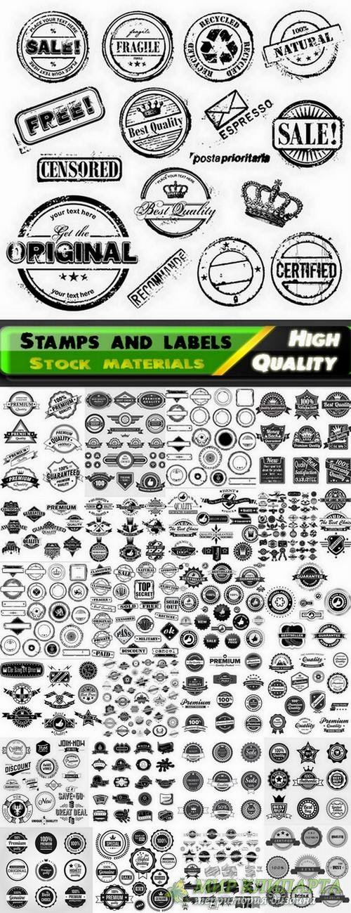 Grunge stamps and labels in vector from stock - 25 Eps