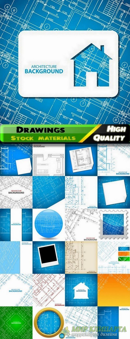 Drawings of buildings and architecture backgrounds - 25 Eps