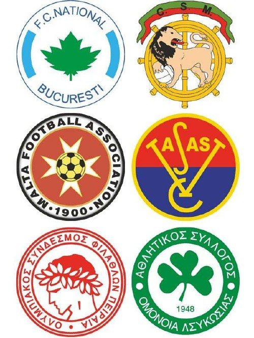 Логотипы футбольных команд: Греция, Кипр, Венгрия, Мальта, Португалия, Румы ...