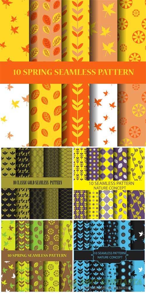 Природные и осенние текстуры, фоны в векторе / Natural and autumn textures, ...