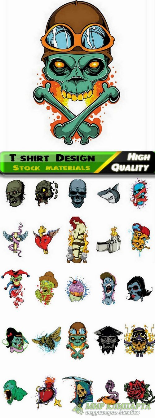 T-shirt Design elements in vector from stock #29 - 25 Eps