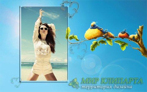 Рамка для фото - Веселые птицы на ветке