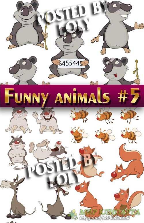 Веселые животные #5 - Векторный клипарт