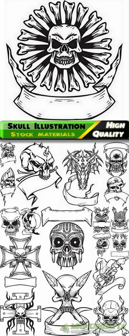 Skull Illustration in vector from stock - 19 Eps