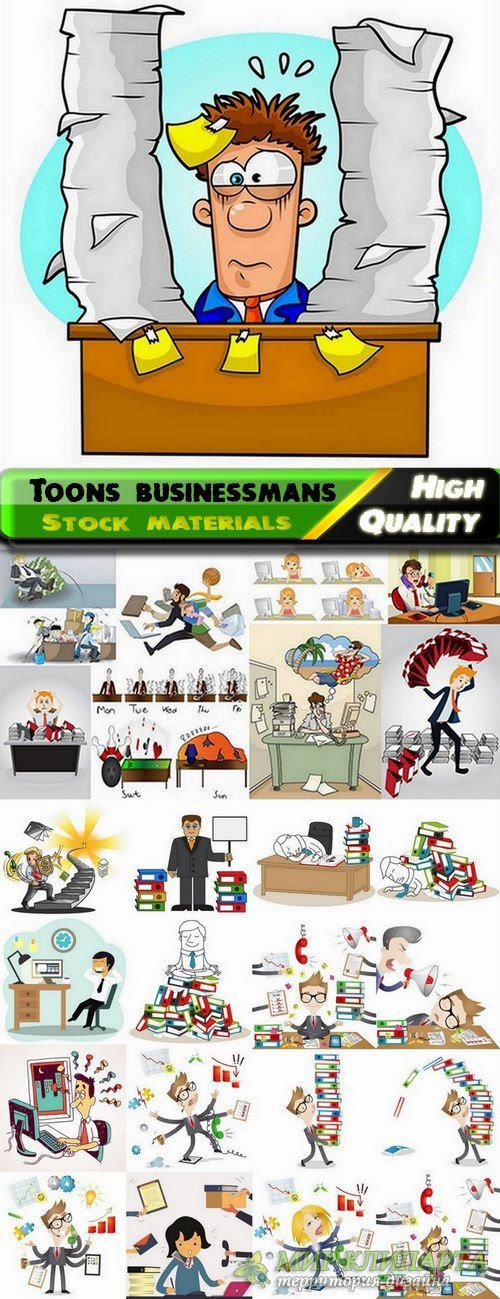 Toons businessmans in vector from stock - 25 Eps