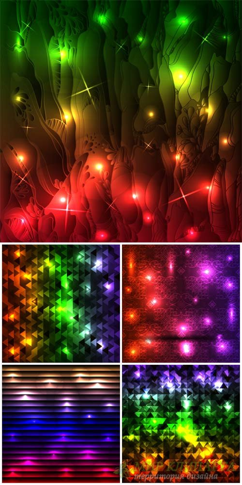 Абстрактные векторные фоны  / Abstract vector background with shining reflections