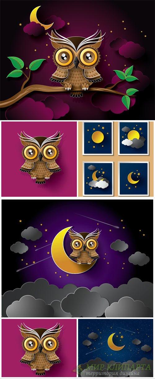 Сова, ночное небо в векторе / Owl, night sky vector