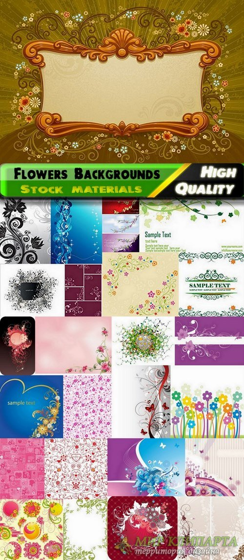 Abstract backgrounds with flowers and leaves elements #14 - 25 Eps