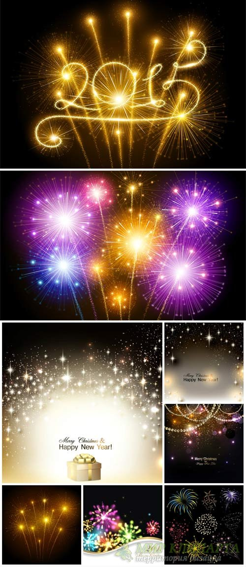Векторные фоны 2015, салюты / Vector backgrounds 2015, fireworks