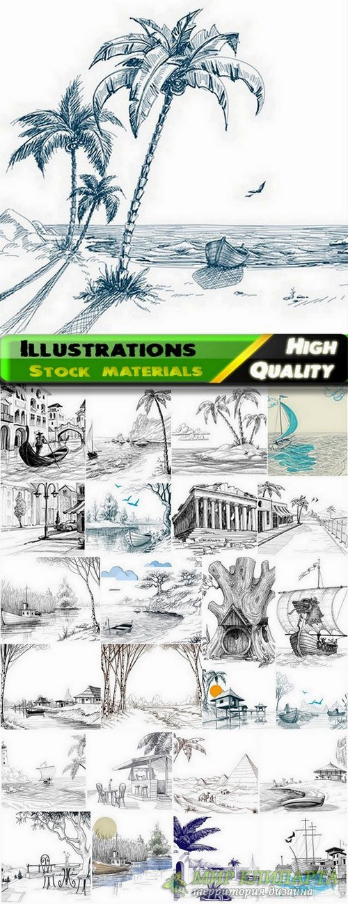 Illustrations nature and attractions in vector from stock - 25 Eps