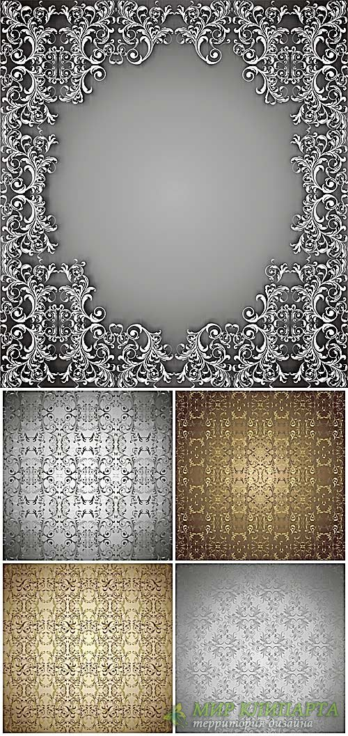 Золотые и серебристые узоры, векторный фоны / Gold and silver patterns, vec ...