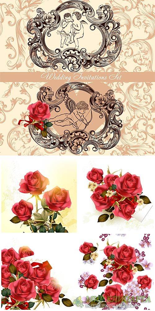 Свадебные приглашения, розы в векторе / Wedding invitation, rose vector