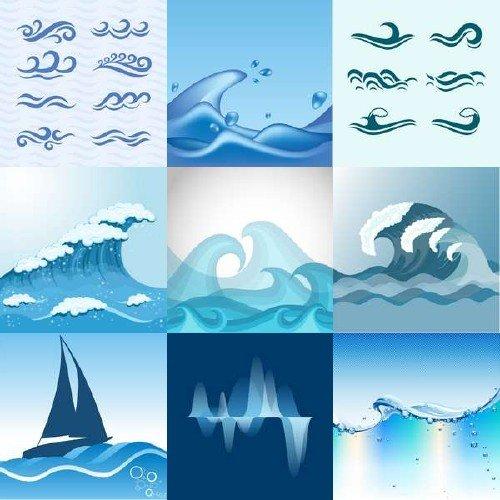 Зарисовки морских волн в векторном клипарте