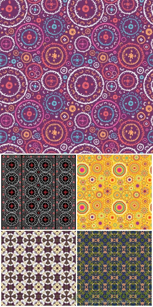 Векторные текстуры с цветочными орнаментами / Vector texture with floral or ...