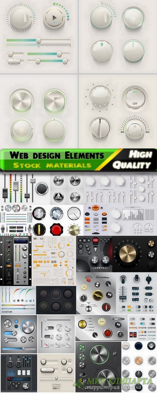 Web design Elements with UI buttons and knobs dials and switches - 25 Eps