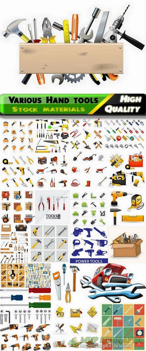 Various Hand tools and electric tools in vector Set from stock - 25 Eps