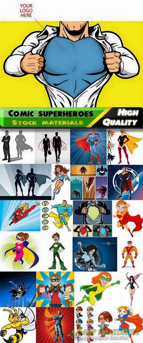 Comic superheroes of cartoons in vector from stock - 25 Eps