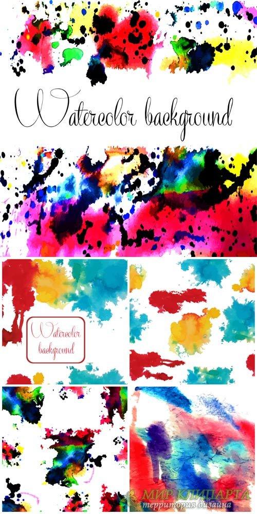 Векторные фоны с разноцветными красками / Vector backgrounds with colored i ...