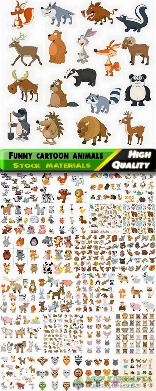 Funny cartoon animals in vector from stock #2 - 25 Eps