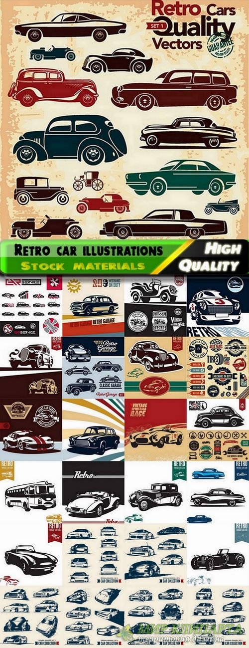 Retro car illustrations in vector from stock - 25 Eps