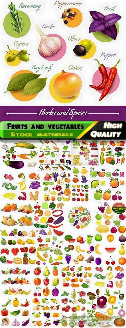 Illustration of beautiful fruits and vegetables in vector from stock - 25 E ...