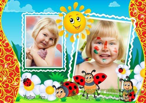 Детская рамка с солнышком, божьими коровками - Краски лета