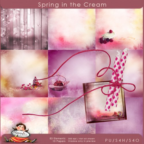 Скрап-набор Spring in the cream