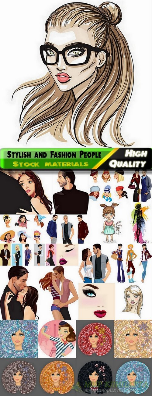 Stylish and Fashion People in vector from stock - 25 Eps