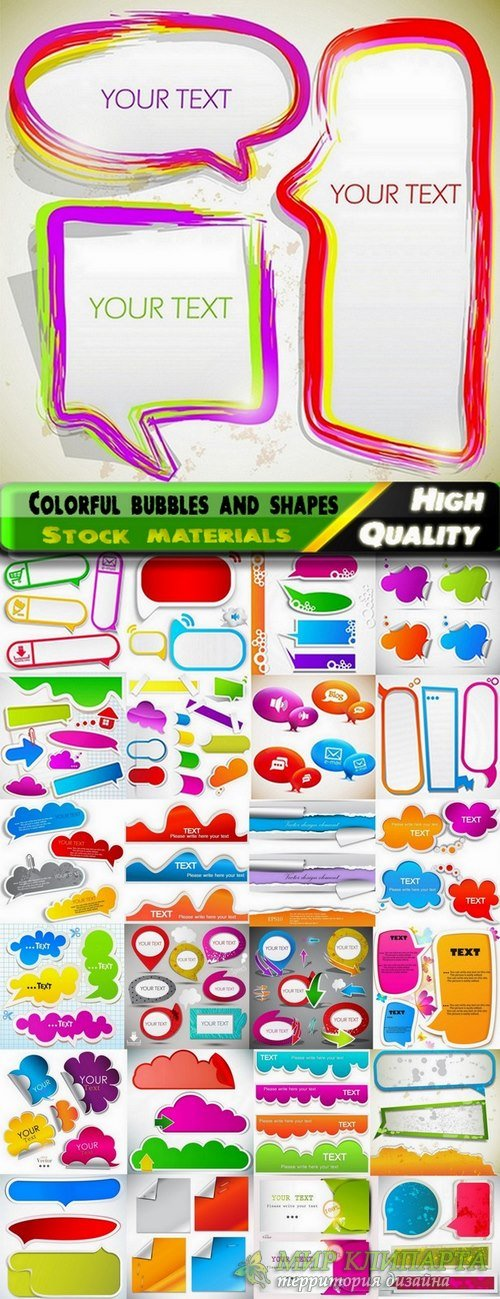 Colorful bubbles and shape for text in vector from stock - 25 Eps