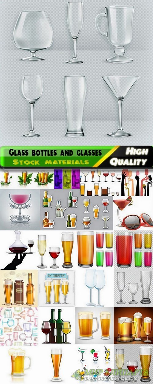 Glass bottles and glasses and dishes in vector from stock - 25 Eps