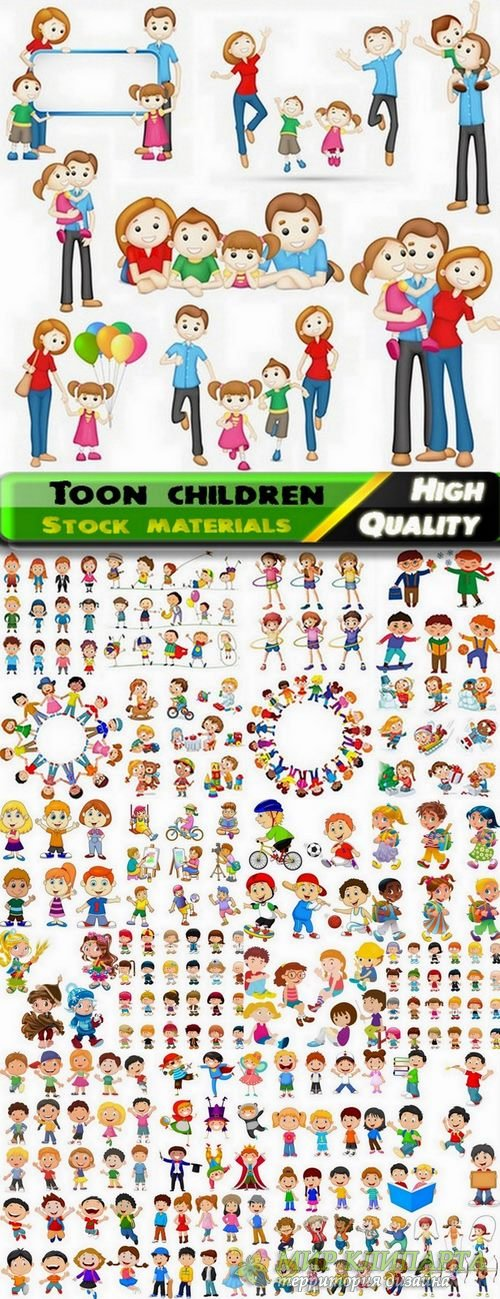 Beautiful illustrations of toon children in vector from stock - 25 Eps