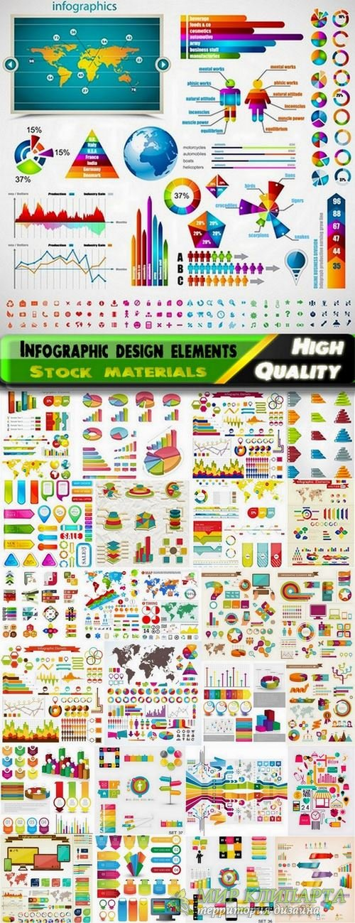 Different Infographic design elements in vector from stock - 25 Eps