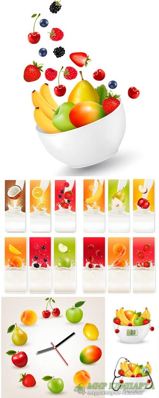 Фрукты и ягоды в векторе, здоровое питание, витамины / Fruits and berries v ...