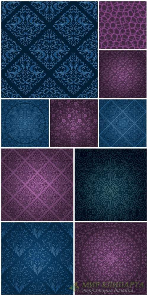 Винтажные векторные фоны с узорами / Vintage vector backgrounds with patter ...