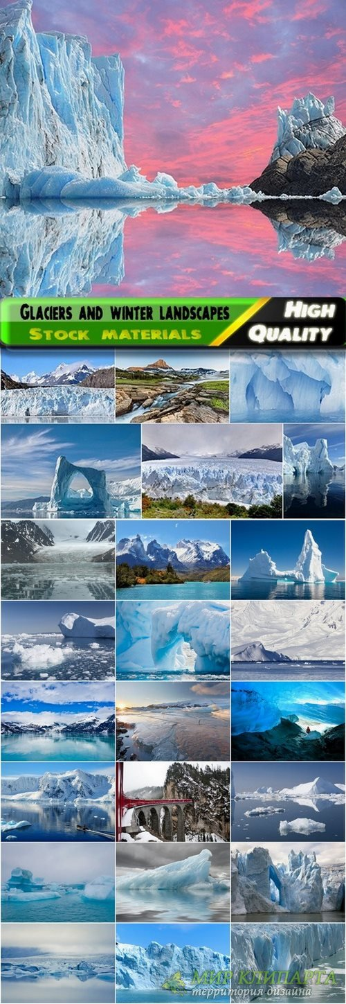 Beautiful glaciers and winter landscapes Stock images - 25 HQ jpg