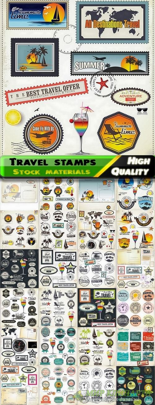 Travel stamps summer concept in vector from stock - 25 Eps