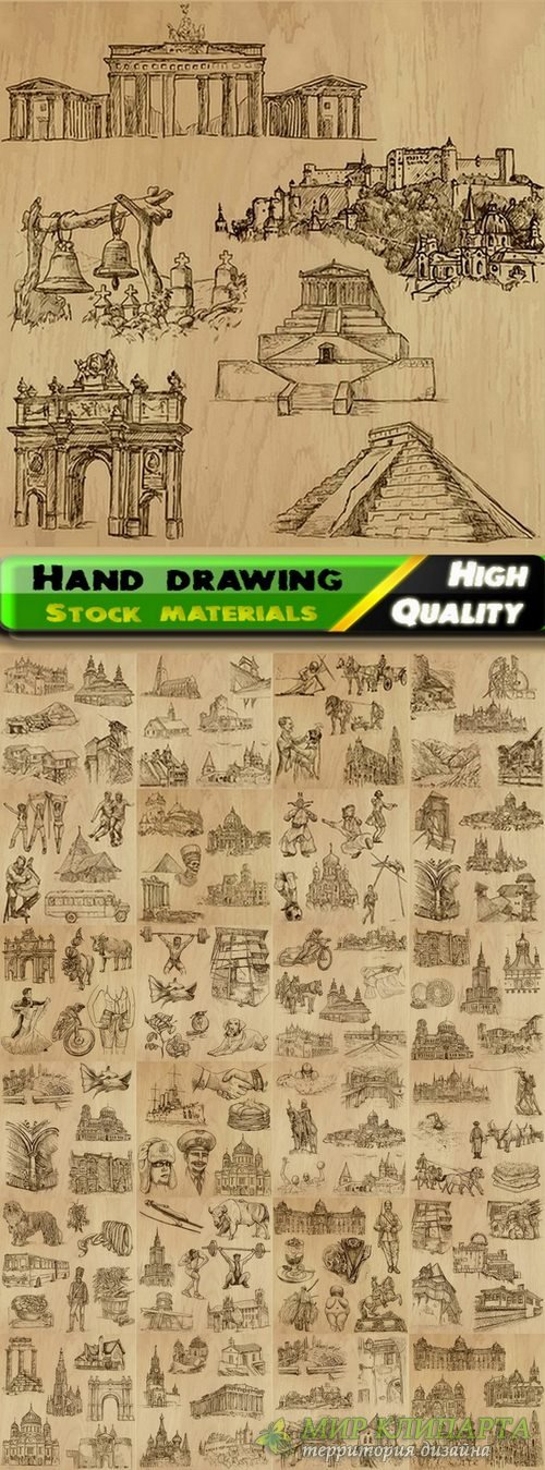 Illustration of streets and people and objects hand drawing - 25 Eps