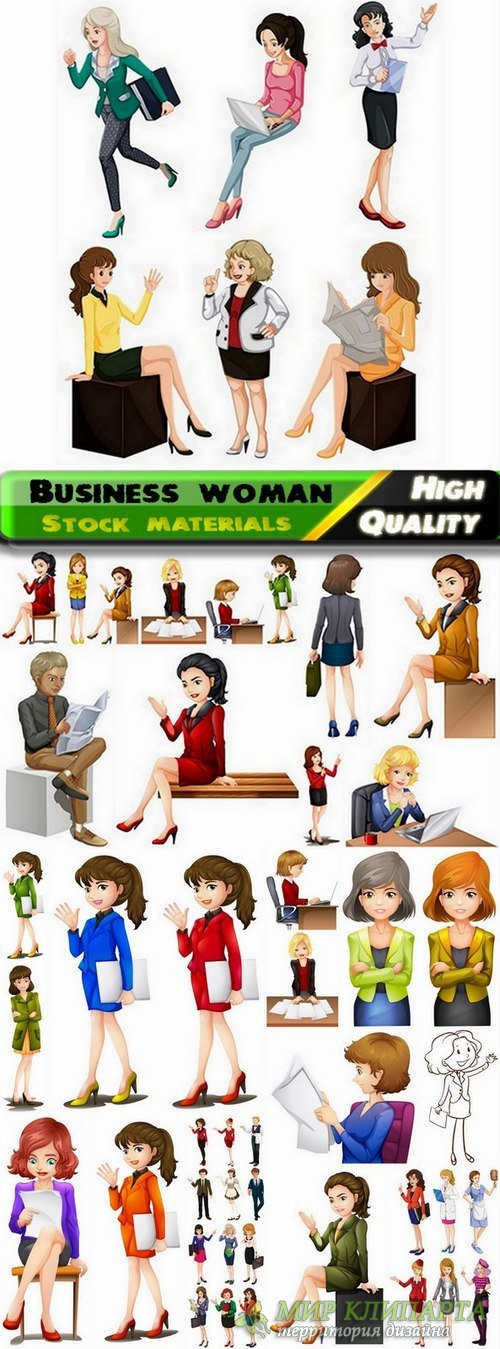 Business woman in vector from stock - 25 Eps