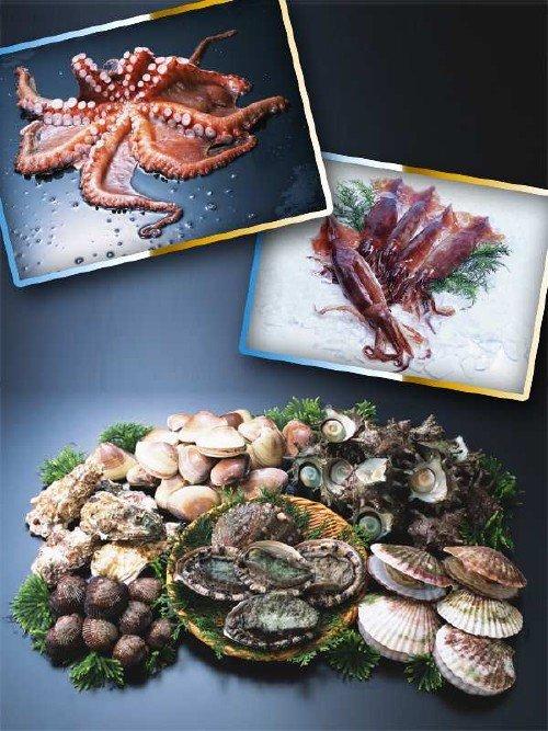 Морепродукты: мидии, осьминоги, кальмары