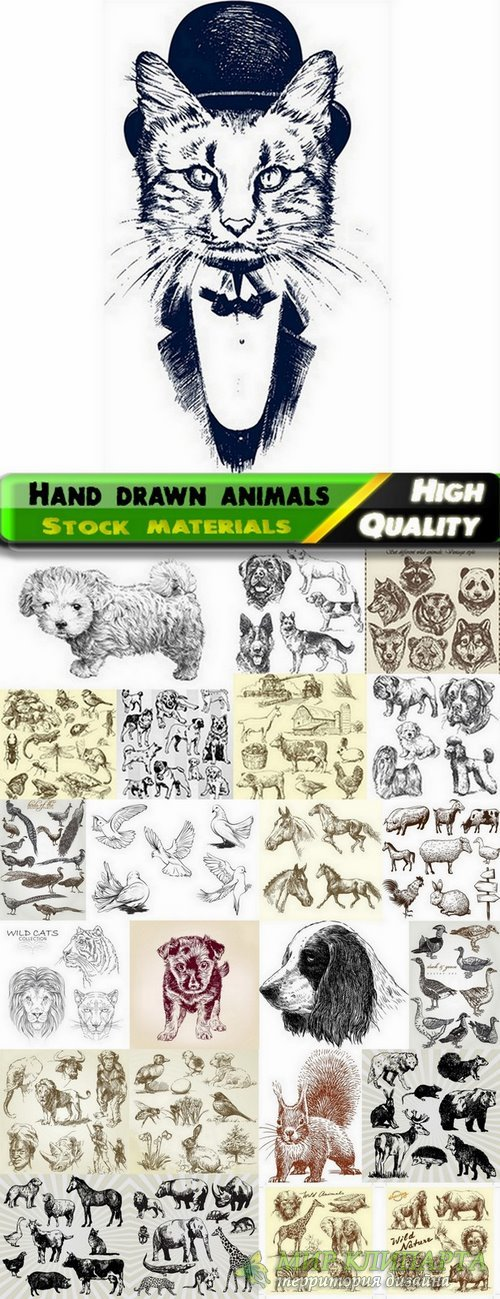 Hand drawn animals in vector from stock - 25 Eps