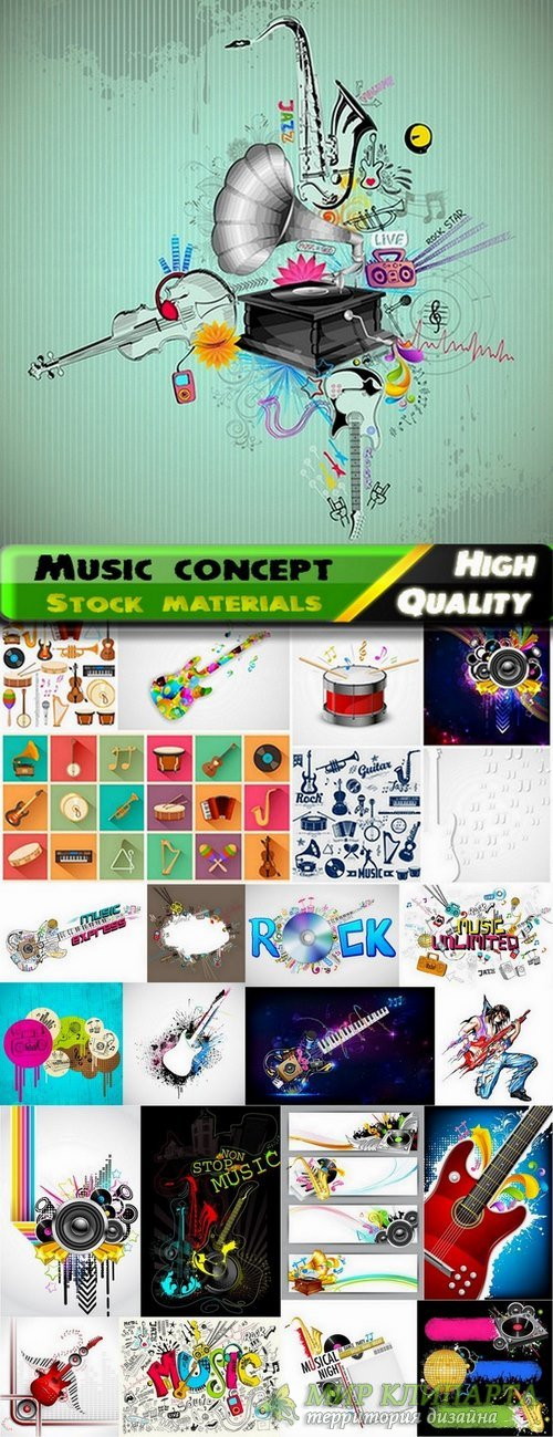 Musical instruments and musik backgrounds in vector from stock - 25 Eps