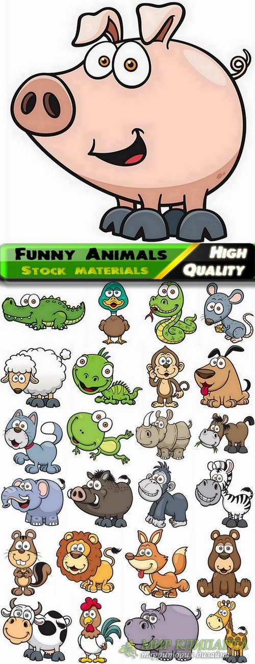 Cute and funny Animals in vector from stock - 25 Eps