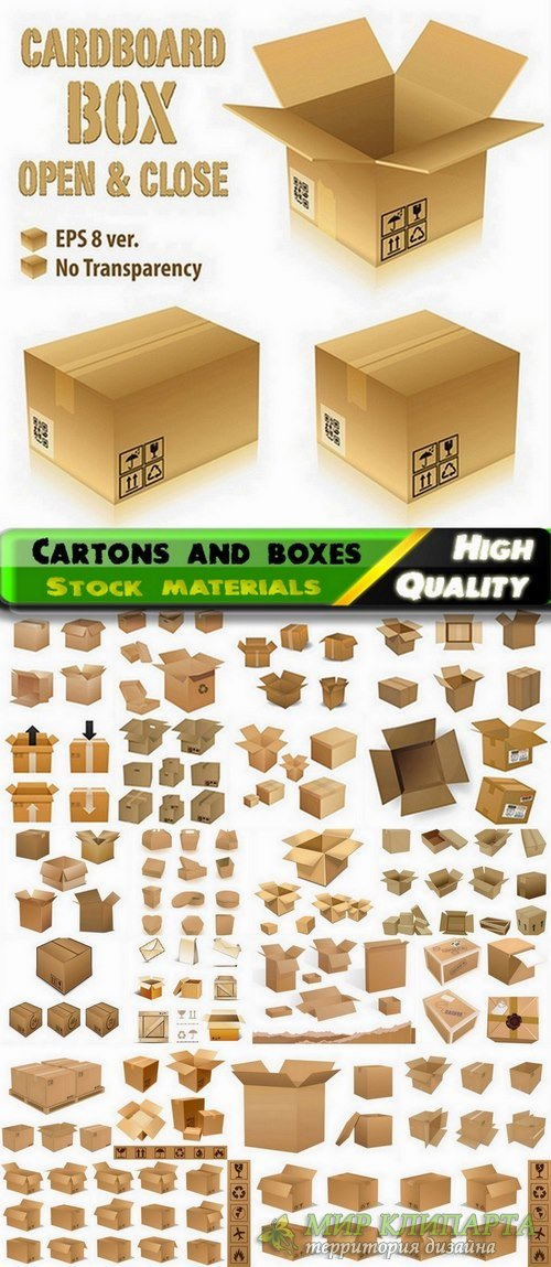 Cartons and boxes in vector from stock - 25 Eps