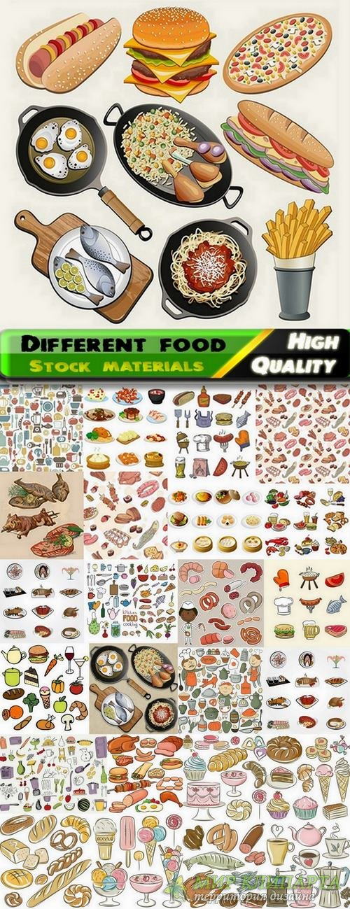 Different food and food backgrounds in vector from stock - 25 Eps