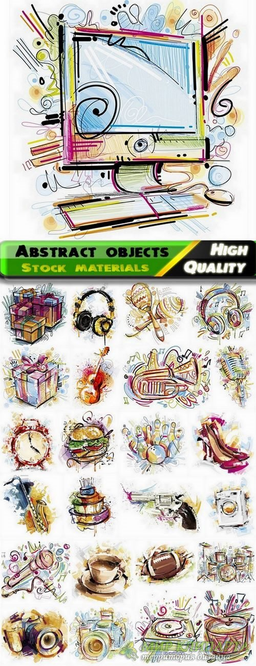 Abstract illustration different objects in vector from stock - 25 Eps