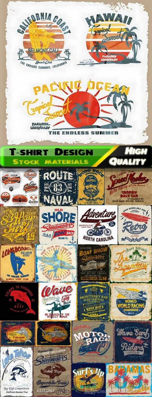 T-shirt Design elements in vector from stock #34 - 25 Eps