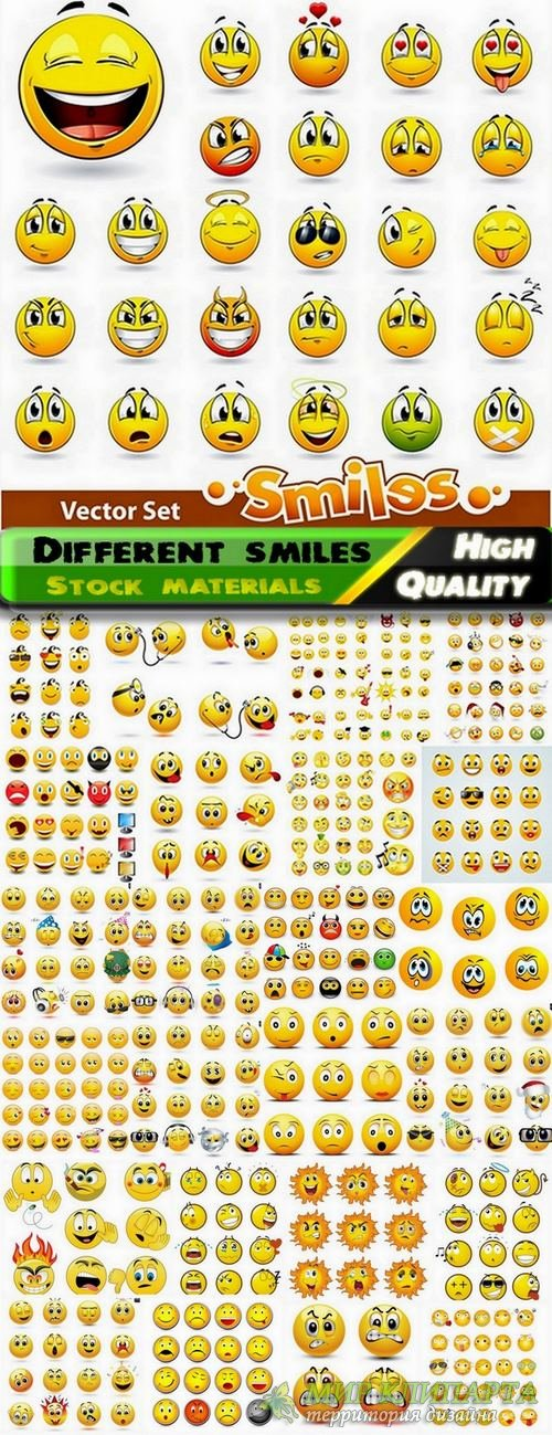 Different smiles design in vector from stock - 25 Eps