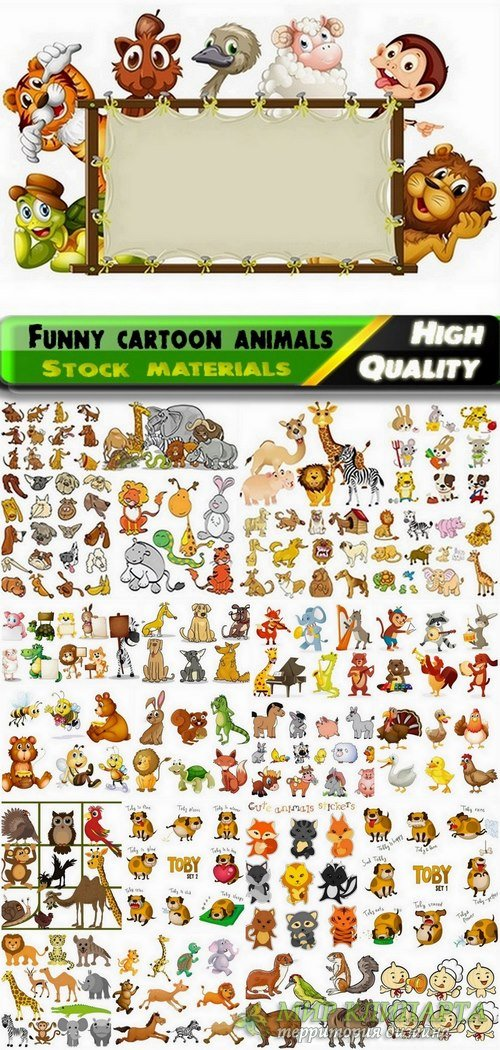 Funny cartoon animals in vector from stock #4 - 25 Eps