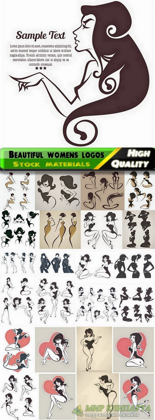 Beautiful womens logos in vector from stock - 25 Eps