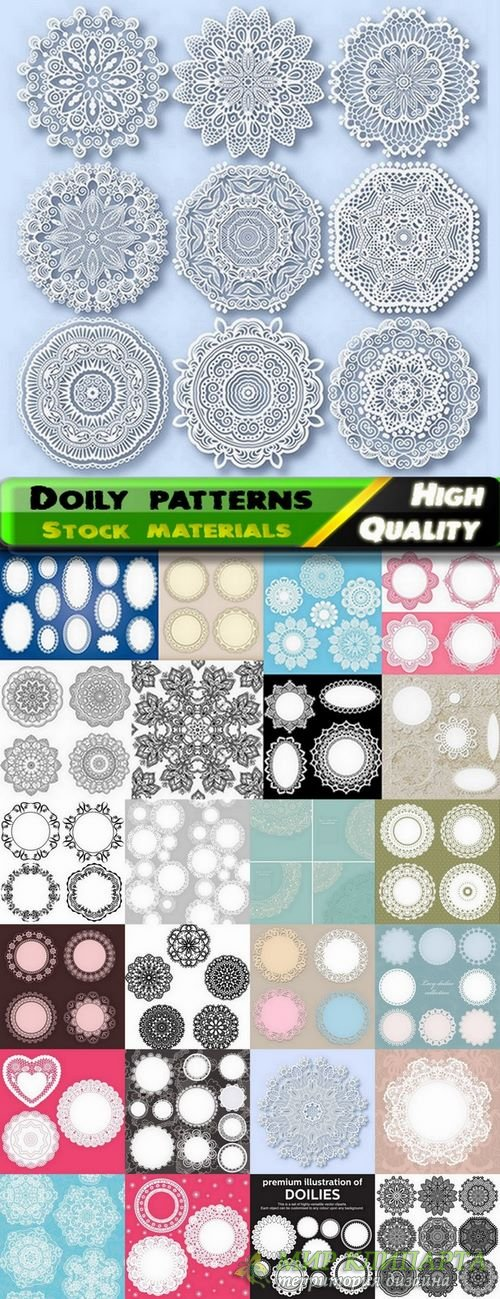 Doily patterns and round frames in vector from stock - 25 Eps